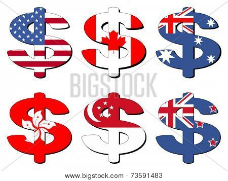 American Canadian Australian Hong Kong Singapore New Zealand dollar symbol vector illustration
