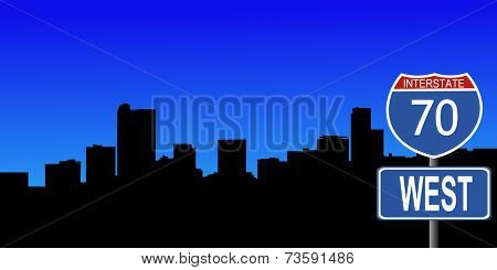 Denver skyline with interstate 70 sign vector illustration
