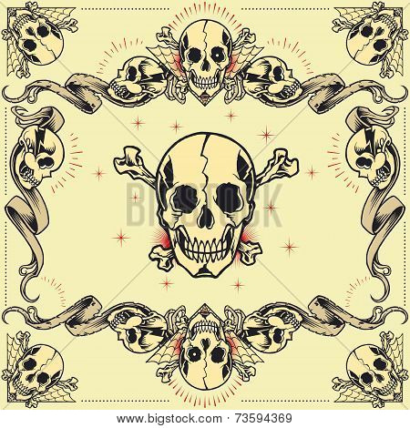 Skull and Ribbon Frames