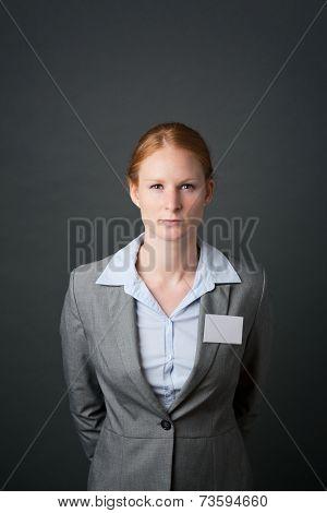 Corporate Employee With Name Tag