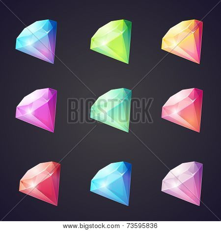 Cartoon image of gems and diamonds of different colors on a black background for computer games.