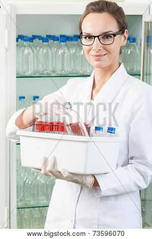 Worker Of Lab Holding Box
