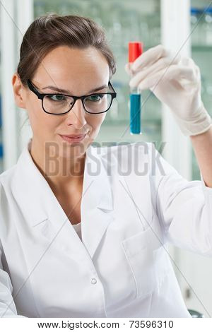 Chemist Watching Test Tube