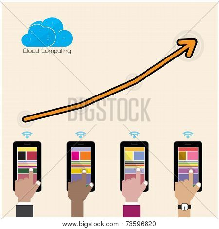 Flat Cloud Technology Computing Background Concept. Data Storage Network Sever Internet Technology.