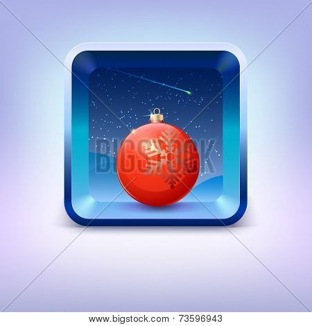 Icon with red Christmas ball, night sky and falling star