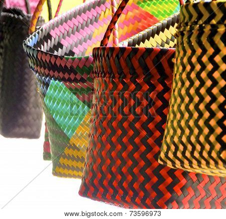 Colorful bags closeup