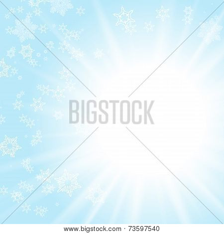 Vector card with winter sun and snowflakes