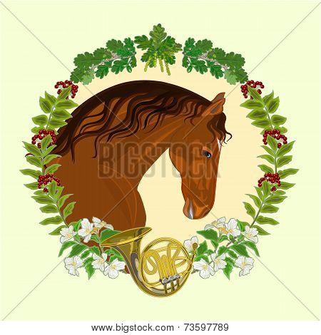 Horse Dark Chestnut  Hunting Theme Vector