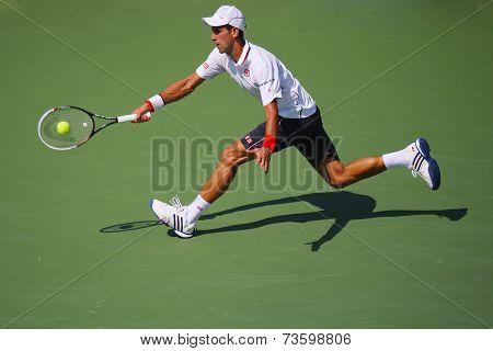 Six times Grand Slam champion Novak Djokovic during semifinal match at US Open 2014