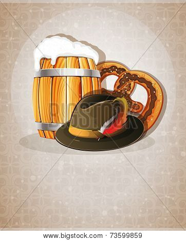 Beer Barrel, Hat And Pretzel