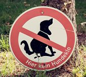 stock photo of excrement  - No dog poop zone sign - JPG