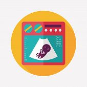foto of ultrasound machine  - Ultrasound Baby Flat Icon With Long Shadow - JPG