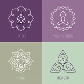 image of studio  - Vector yoga icons and round line badges  - JPG