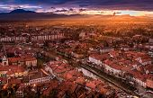 image of yellow castle  - A sunset view of the centre of Ljubljana from the castle hill capital of Slovenia - JPG