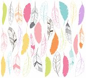 image of feathers  - Vector Set of Stylized or Abstract Feathers and Feather Silhouettes - JPG