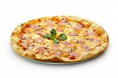 stock photo of carbonara  - Pizza Carbonara with Bacon and Yolk of Chicken Egg - JPG