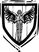 picture of arthurian  - Woodcut style Heraldic Shield with a Winged Knight - JPG
