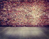 image of brick block  - Empty Brick Wall with Concrete Floor - JPG