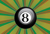 stock photo of oracle  - Black eight billiard ball on colorful background with rays - JPG