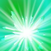 image of big-bang  - Vector illustration of a crystal with rays coming from the inside - JPG