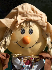 stock photo of polly  - Pretty Polly scarecrow is all dressed up to scare the crows and delight the children on Halloween - JPG