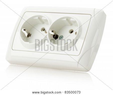 Double Socket Isolated On The White Background