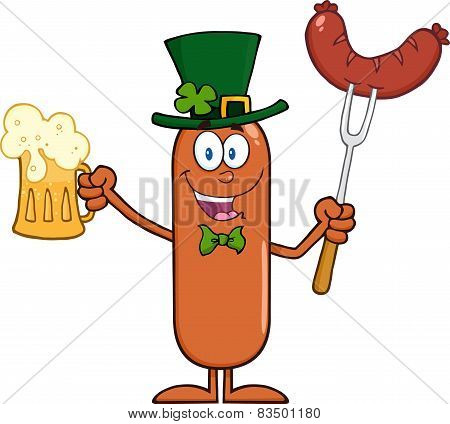 Leprechaun Sausage Cartoon Character Holding A Beer