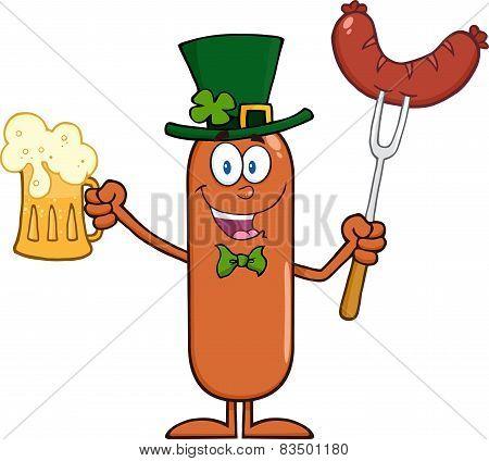 Leprechaun Sausage Cartoon Character Holding A Beer
