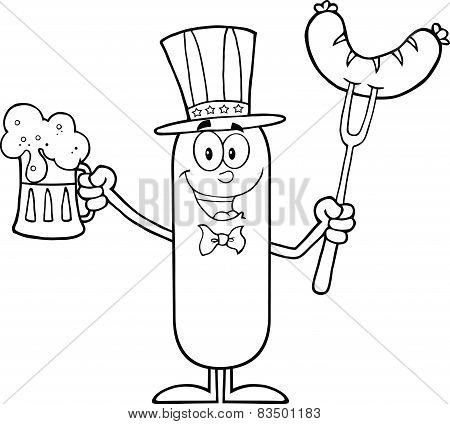 Black And White Patriotic Sausage Character Holding A Beer