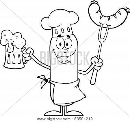 Black And White Happy Chef Sausage