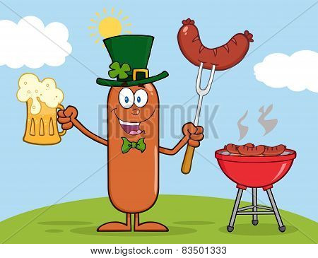 Leprechaun Sausage Character Holding A Beer And Weenie Next To BBQ