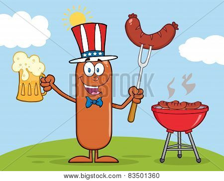 Patriotic Sausage Character Holding A Beer And Weenie Next To BBQ