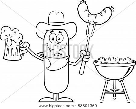 Black And White Cowboy Sausage Cartoon Character Holding A Beer And Weenie Next To BBQ