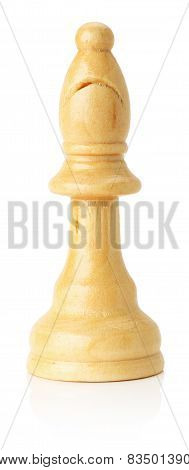 White Wooden Chess Bishop On The White Background