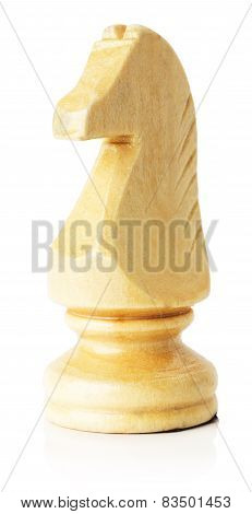 White Wooden Chess Horse On The White Background