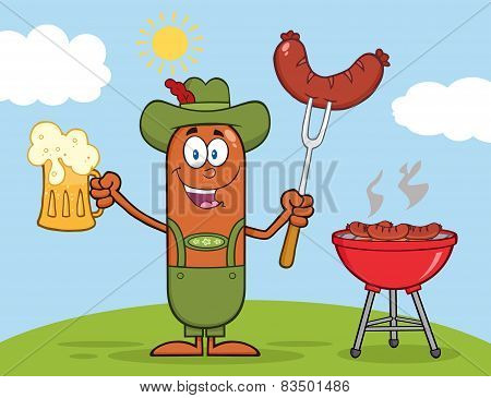 German Oktoberfest Sausage Character Holding A Beer And Weenie Next To BBQ