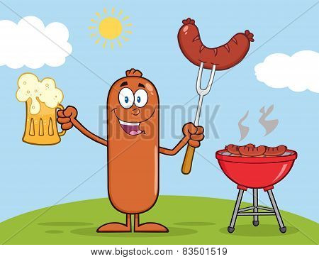 Sausage Cartoon Character Holding A Beer And Weenie Next To BBQ
