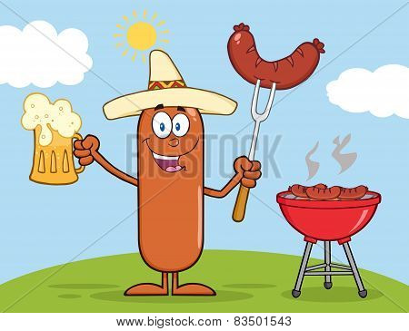Mexican Sausage Character Holding A Beer And Weenie Next To BBQ