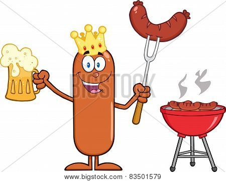 Happy King Sausage Cartoon Character Holding A Beer And Weenie Next To BBQ