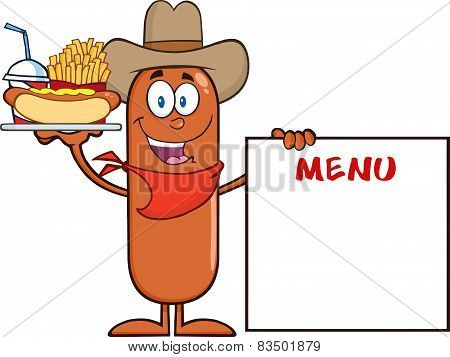 Cowboy Sausage Cartoon Character Carrying A Hot Dog, French Fries And Cola Next To Menu Board