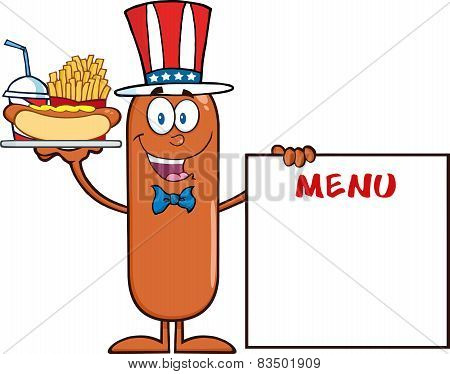 Patriotic Sausage Cartoon Character Carrying A Hot Dog, French Fries And Cola Next To Menu Board