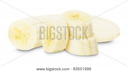 Banana With Banana Slices On The White Background