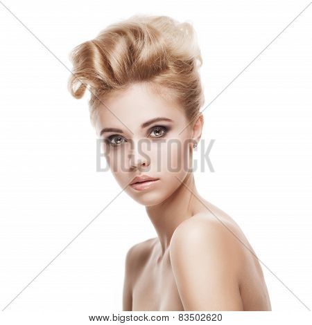beautiful young blond woman with clean face