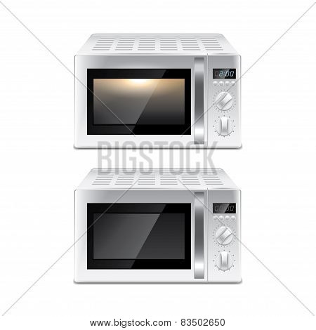 Microwave Oven Isolated On White Vector
