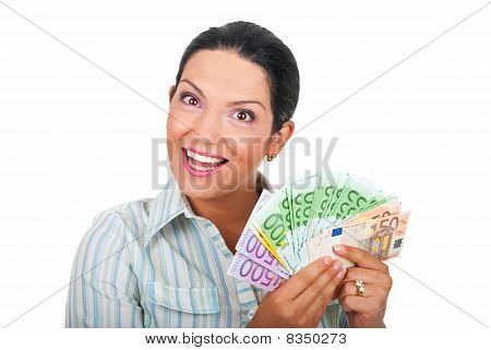 Happy Woman Holding Money
