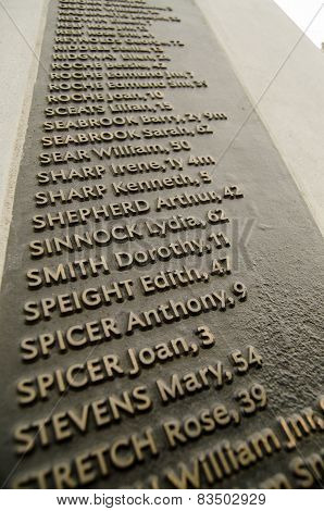 Names on Bethnal Green Memorial