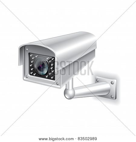 Surveillance Camera Isolated On White Vector