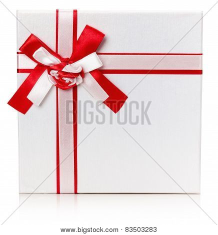 Gift Box With Red Ribbon And Bow Isolated On The White Background