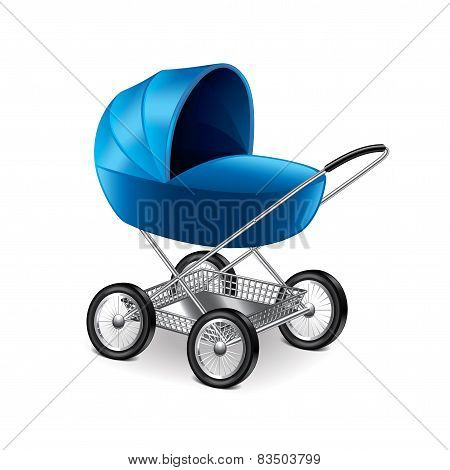 Baby Stroller Isolated On White Vector