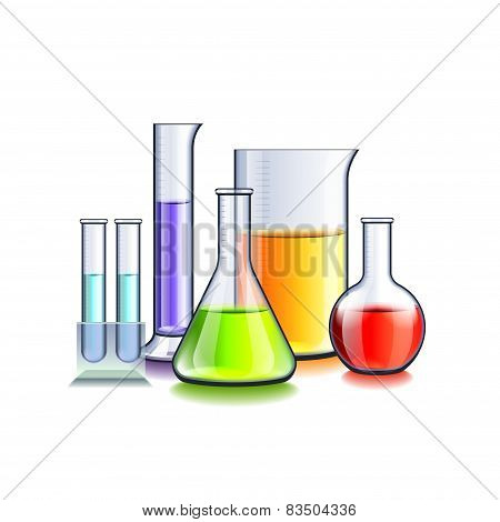 Laboratory Glassware Isolated On White Vector